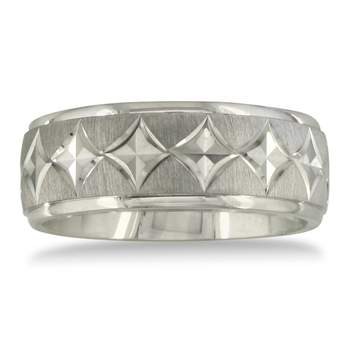 Mens and Womens Diamond Cut Silver Wide 8mm Wedding Band Ring