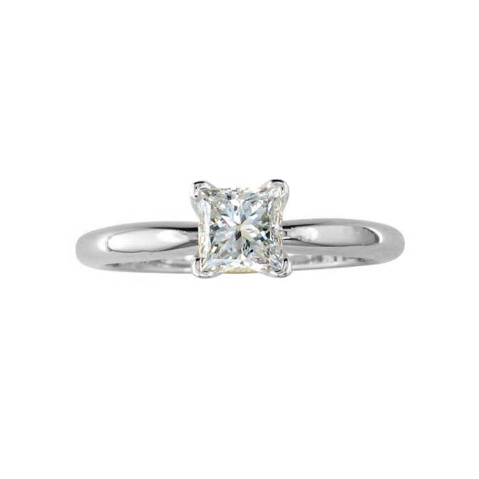 1/4 Carat Princess Cut Diamond White Gold Solitaire Engagement Ring in 14kWG, , I1 by SuperJeweler