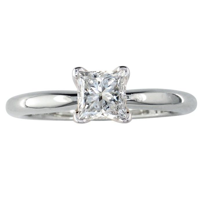 1/2 Carat Princess Cut Diamond White Gold Engagement Ring in 14k,  by SuperJeweler