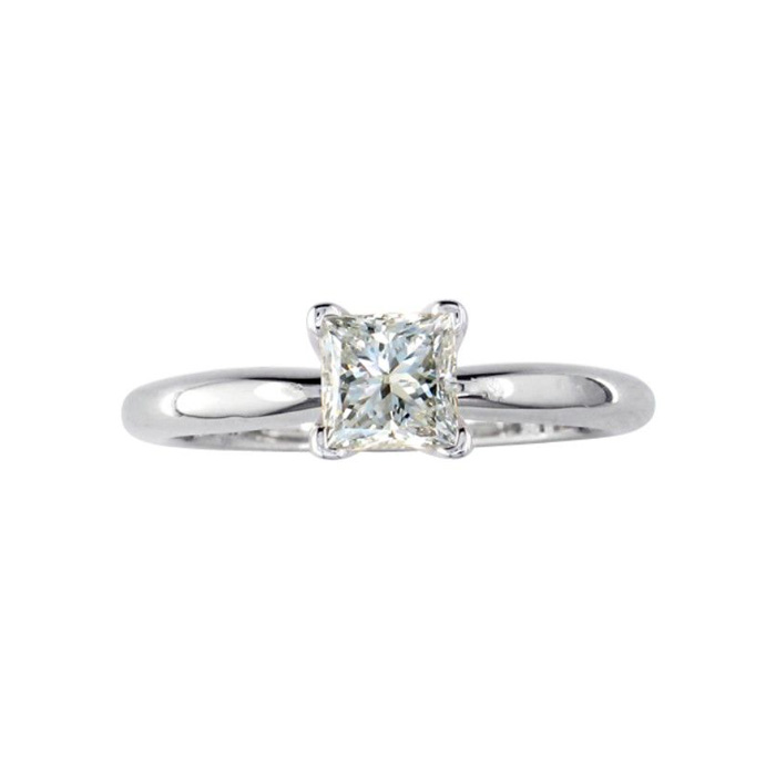 1/4 Carat Princess Cut Diamond White Gold Solitaire Engagement Ring in 14kWG, G/H Color, SI1 by SuperJeweler