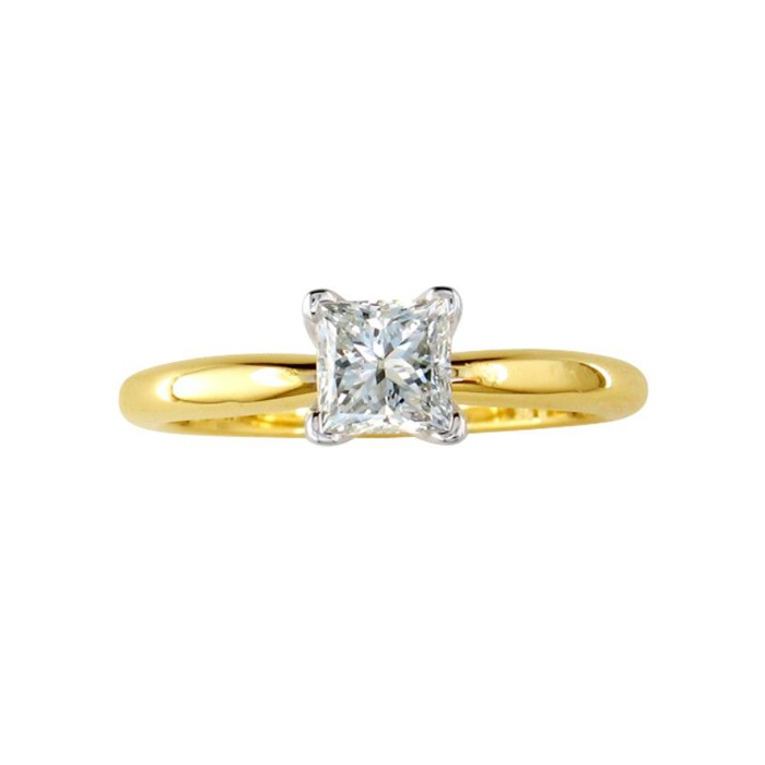1/4 Carat Princess Cut Diamond Yellow Gold Solitaire Engagement Ring in 14k, G/H Color SI1 by SuperJeweler