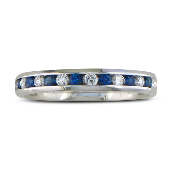 1/4 Carat Sapphire & Diamond Channel Set Band, 14k White Gold (2.5 g), G/H Color by SuperJeweler