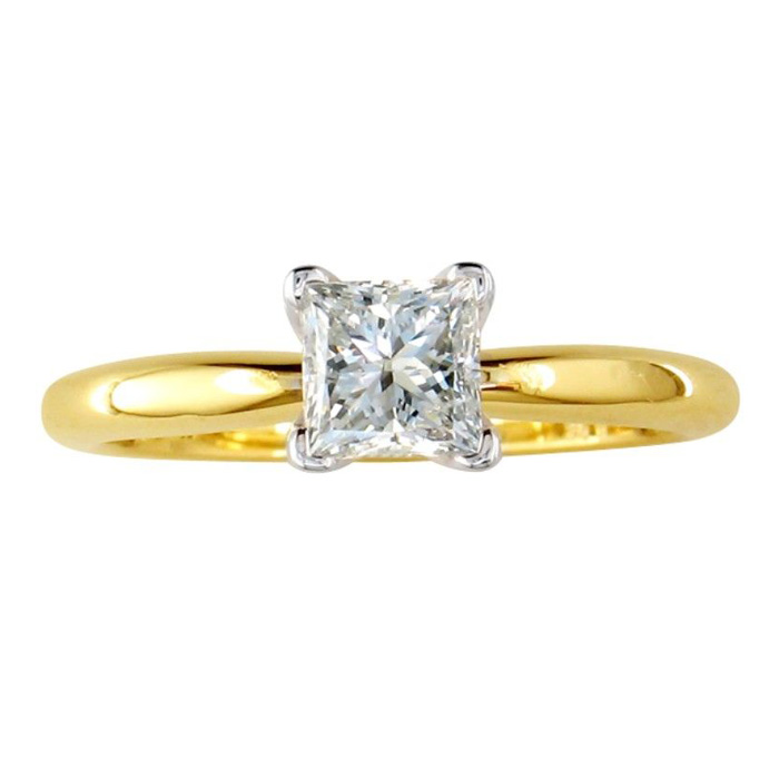 1/2 Carat Princess Cut Diamond Yellow Gold Solitaire Engagement Ring in 14k G/H Color, SI1/SI2 by SuperJeweler