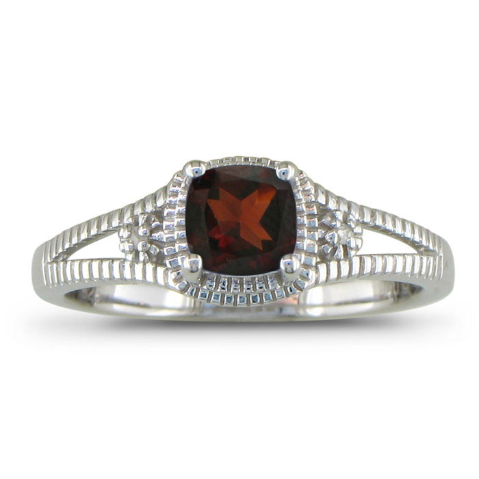 3/4ct Garnet and Diamond Ring, Sterling Silver
