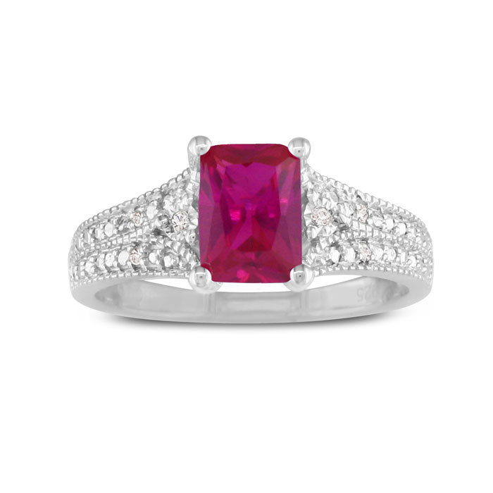 1.5 Carat Created Ruby & Diamond Ring, Sterling Silver,  by SuperJeweler