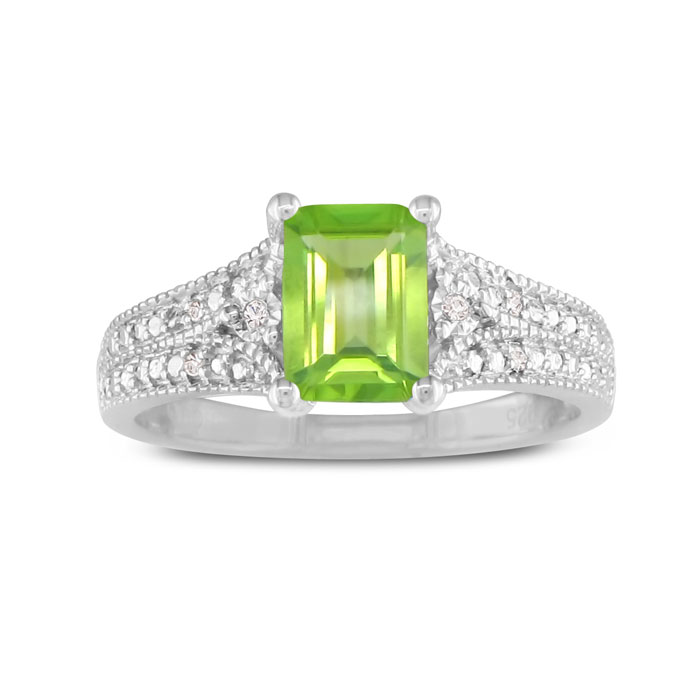 1.5 Carat Peridot & Diamond Ring, Sterling Silver,  by SuperJeweler