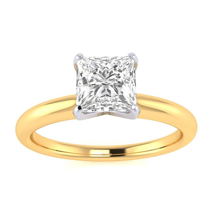 3/4 Carat Princess Cut Diamond Engagement Ring in 14k Yellow Gold G/H Color SI1/2 by SuperJeweler