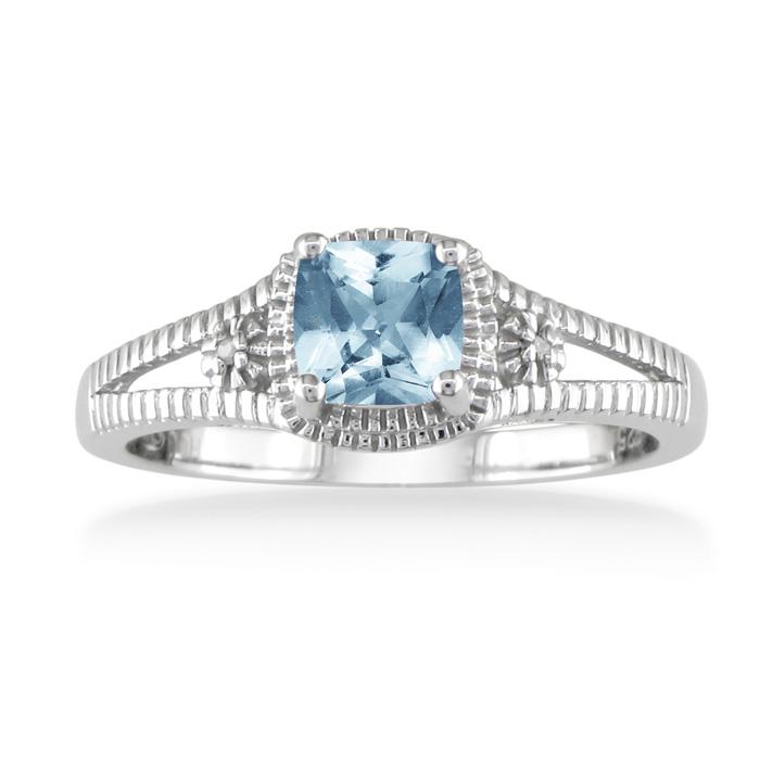 3/4 Carat Aquamarine & Diamond Ring, Sterling Silver,  by SuperJeweler