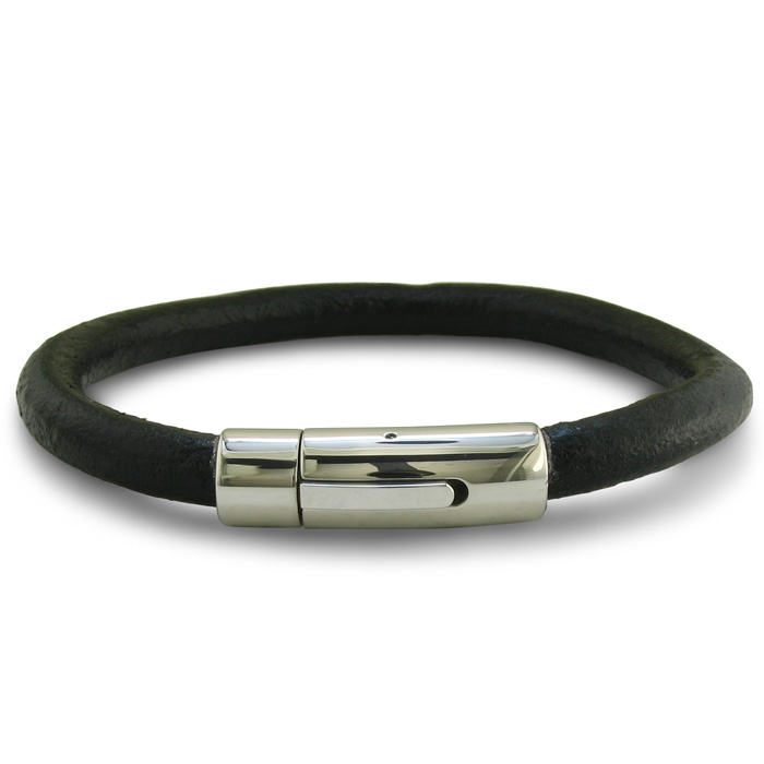 Image of Black Leather Bracelet with Stainless Steel Lock, 8 1/2 Inches