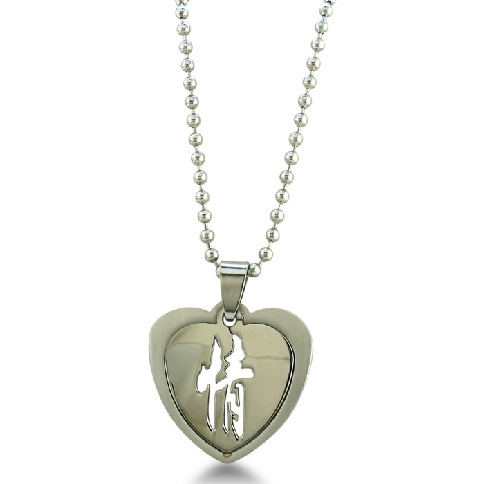 "Image of Stainless Steel Chinese ""Affection"" Heart Pendant"