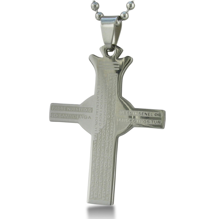 Image of Lord's Prayer Stainless Steel Cross Pendant