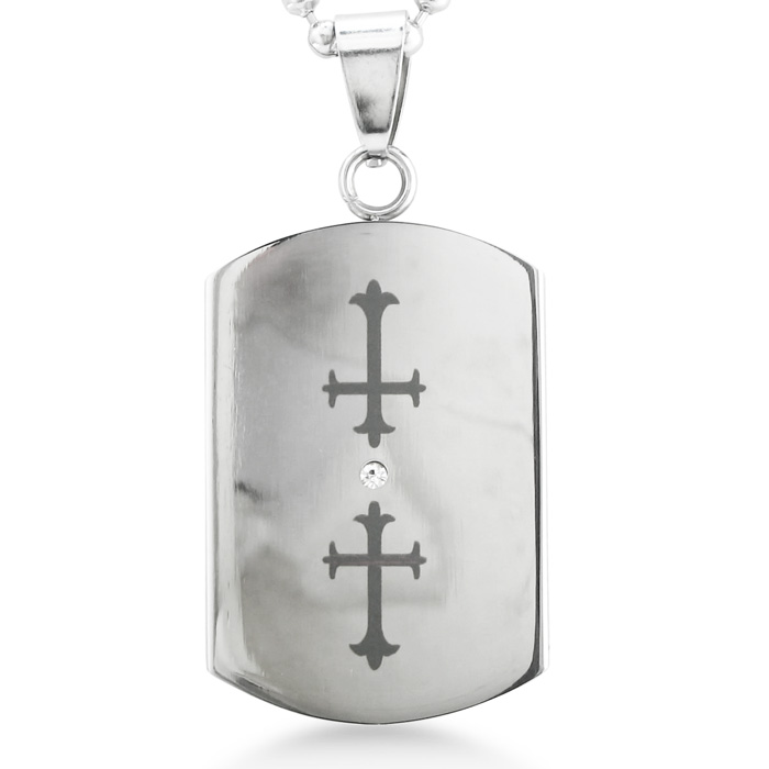 Image of Stainless Steel Double Cross Cut Out Dog Tag