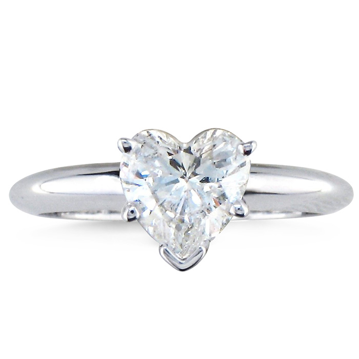 1ct Heart Shaped Diamond Solitaire Ring 14k White Gold