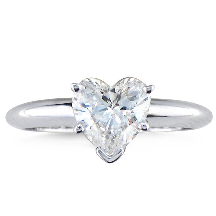 a65fd556e24f5 1 Carat Heart Shape Diamond Solitaire Ring In 14k White Gold ...
