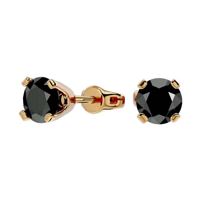 1ct Black Diamond Stud Earrings, 14k Yellow