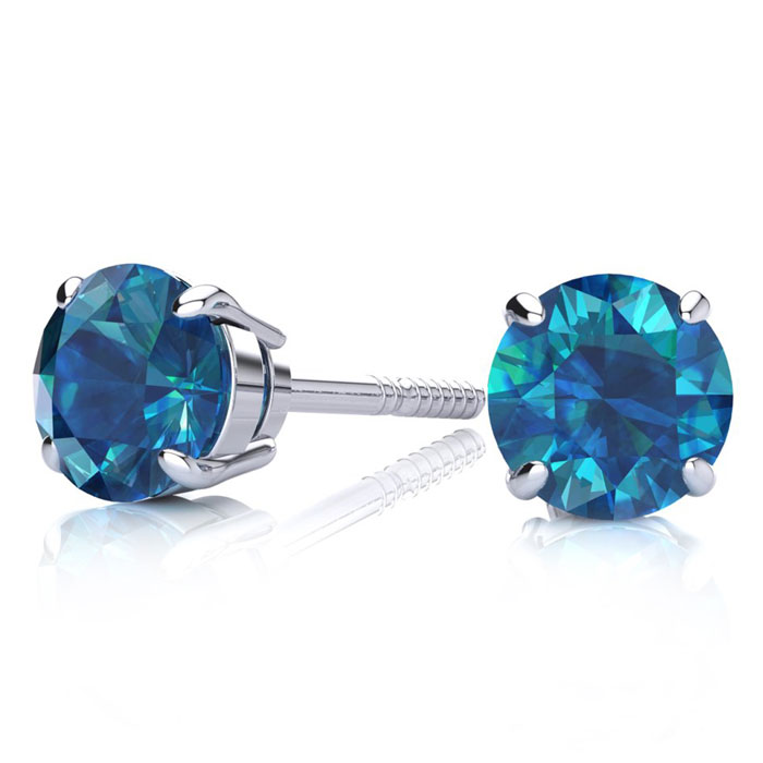 1 1/2ct Blue Diamond Stud Earrings, 14k