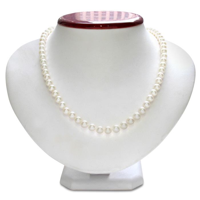 6mm AA Hand Knotted Pearl Necklace, 14k White Gold (22.3 g) Clasp, 18 Inch Chain by SuperJeweler