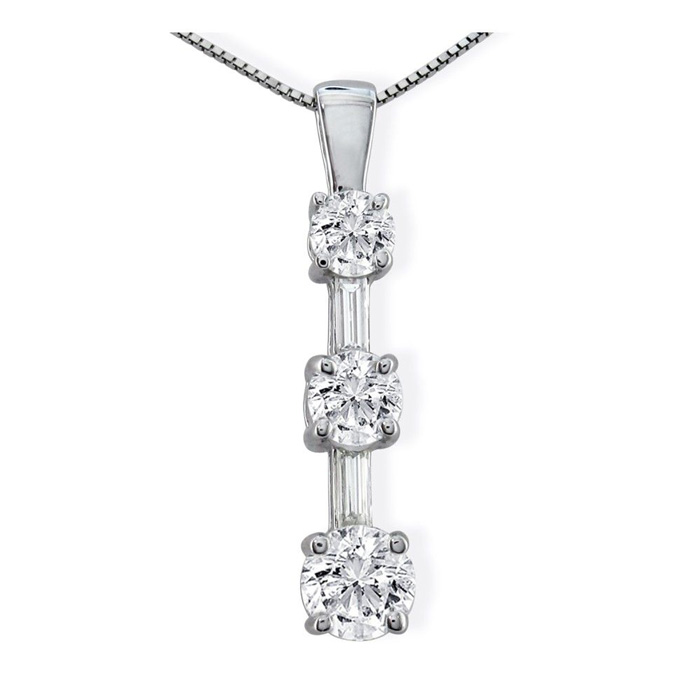 Image of 1/2ct Round & Baguette Stick Style Diamond Pendant in 10k White Gold