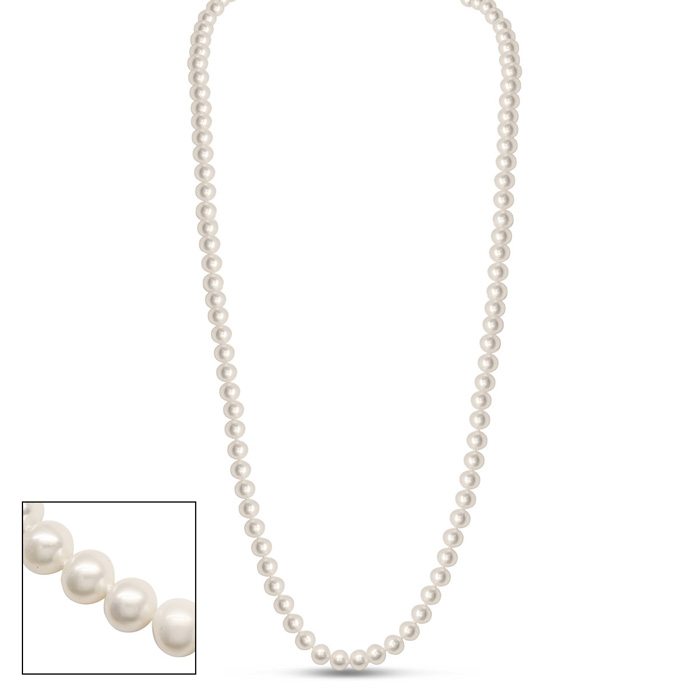 36 Inch 6mm AA Hand Knotted Pearl Necklace, 14k Yellow Gold Clasp by SuperJeweler
