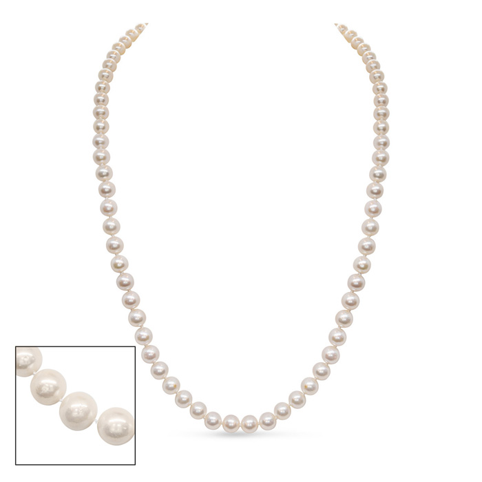 24 Inch 7mm AA Hand Knotted Pearl Necklace, 14k Yellow Gold Clasp by SuperJeweler