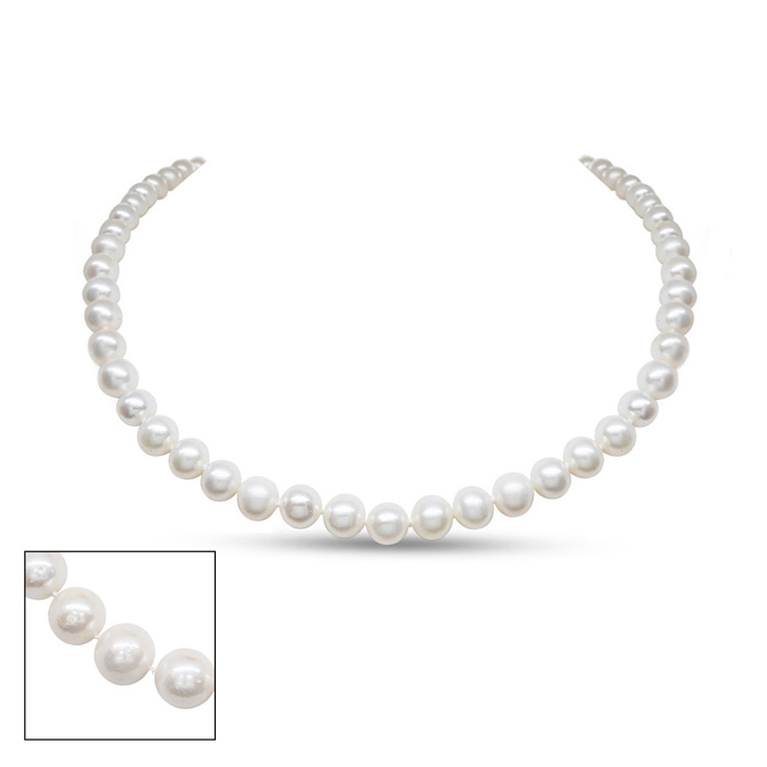 36 Inch 7mm AA Hand Knotted Pearl Necklace, 14k Yellow Gold Clasp by SuperJeweler