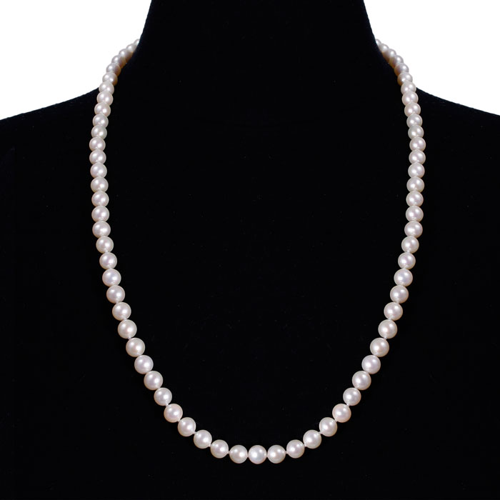 24 Inch 7mm AAA Hand Knotted Pearl Necklace, 14k Yellow Gold Clasp by SuperJeweler