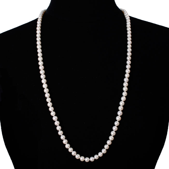 30 Inch 7mm AAA Hand Knotted Pearl Necklace, 14k Yellow Gold Clasp by SuperJeweler