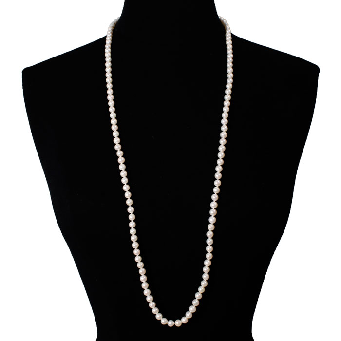 36 Inch 7mm AAA Hand Knotted Pearl Necklace, 14k Yellow Gold Clasp by SuperJeweler
