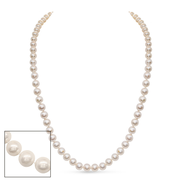 24 Inch 8mm AA Hand Knotted Pearl Necklace, 14k Yellow Gold Clasp by SuperJeweler