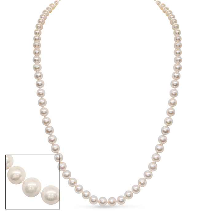 30 Inch 8mm AA Hand Knotted Pearl Necklace, 14k Yellow Gold Clasp by SuperJeweler