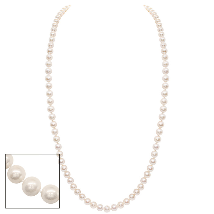 36 Inch 8mm AA Hand Knotted Pearl Necklace, 14k Yellow Gold Clasp by SuperJeweler