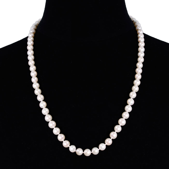 24 Inch 8mm AAA Hand Knotted Pearl Necklace, 14k Yellow Gold Clasp by SuperJeweler