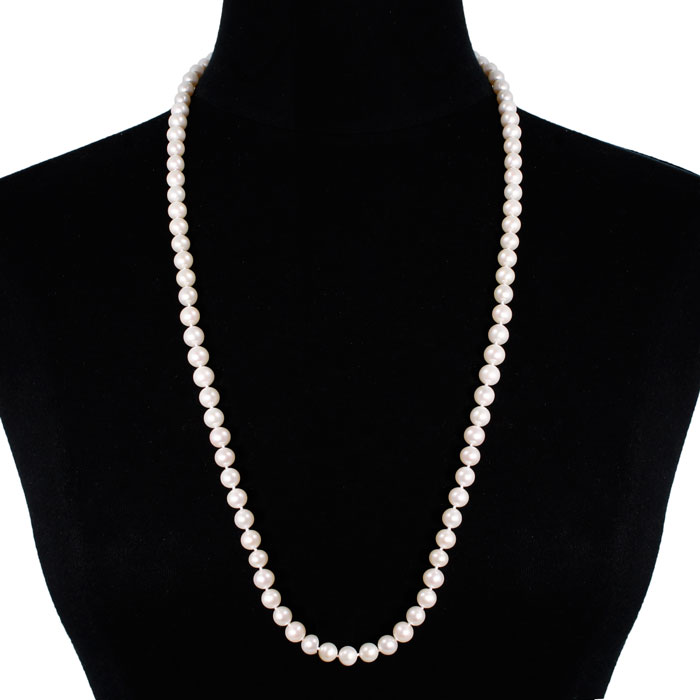 30 Inch 8mm AAA Hand Knotted Pearl Necklace, 14k Yellow Gold Clasp by SuperJeweler
