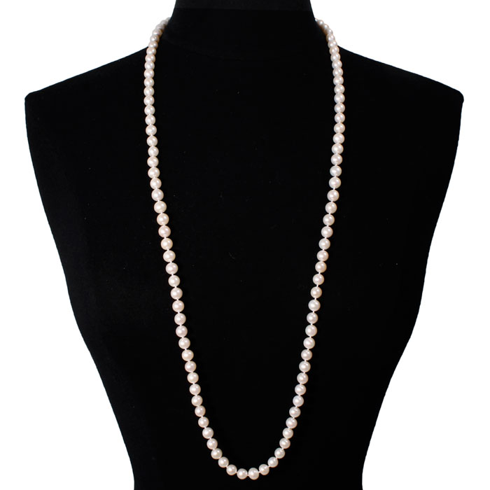 36 Inch 8mm AAA Hand Knotted Pearl Necklace, 14k Yellow Gold Clasp by SuperJeweler