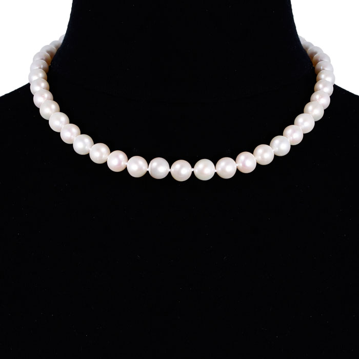 18 Inch 10mm AAA Hand Knotted Pearl Necklace, 14k Yellow Gold Clasp by SuperJeweler