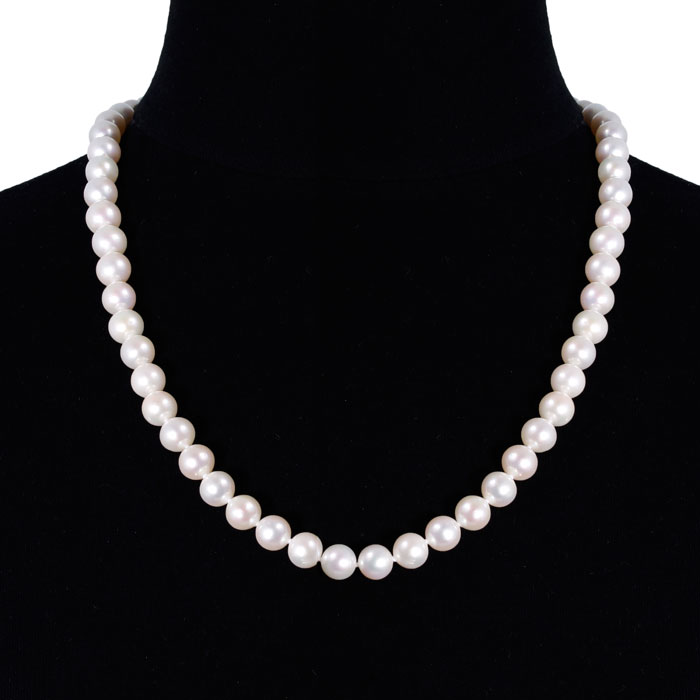 24 inch 10mm AAA Pearl Necklace with 14k Yellow Gold Clasp