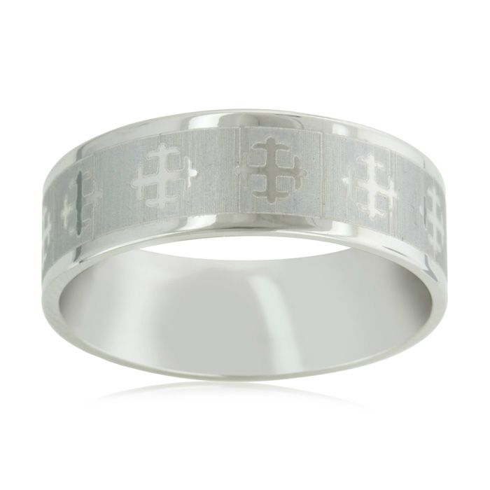 8mm Titanium Silver Cross Wedding Band