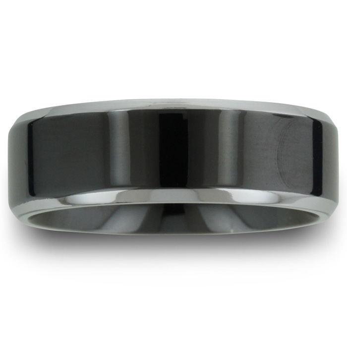 8MM Flat Top Two Tone Black Titanium Ring Wedding Band