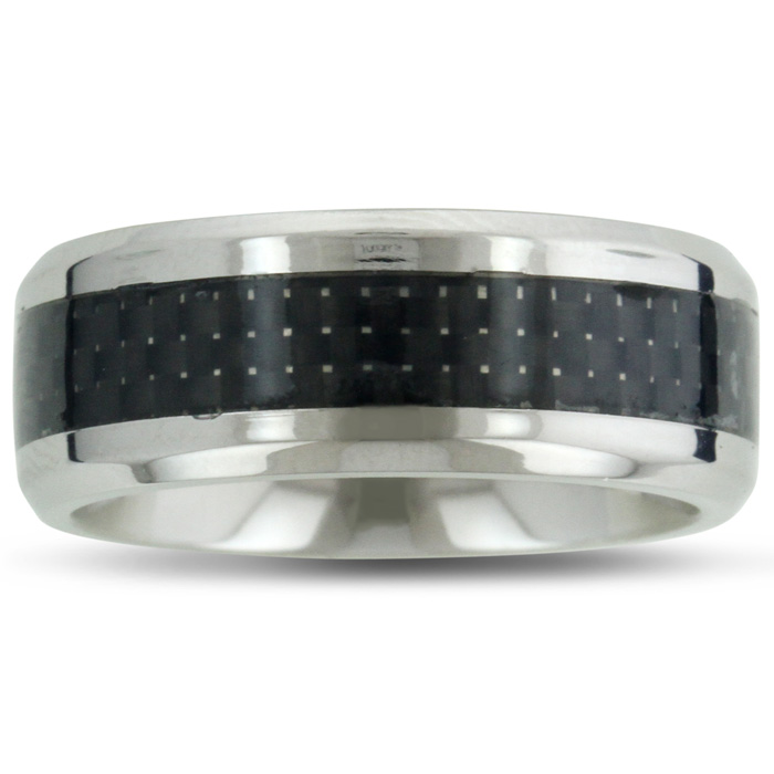 8MM Men's Titanium Carbide Ring Wedding Band W/ Carbon Fiber Inlay