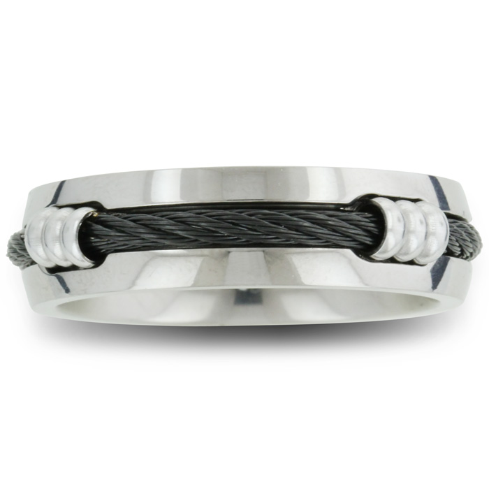 Image of 7mm Mens Titanium Wedding Band Ring with Carbon Fiber Rope, Sizes 8 to 12.5