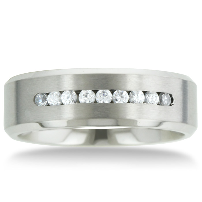 Image of 8 MM Men's Titanium ring wedding band with 9 large Channel Set CZ
