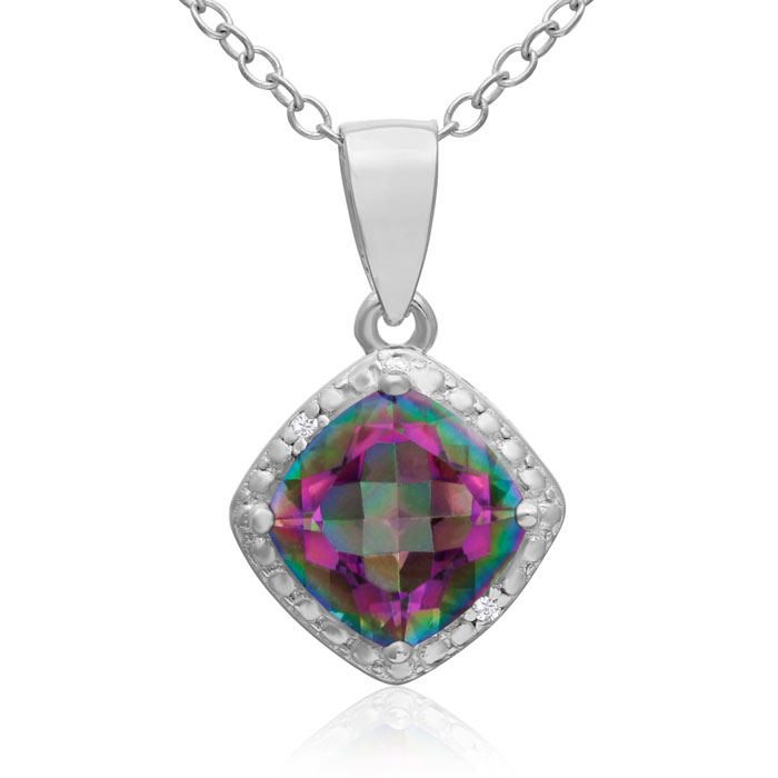 1.5 Carat Mystic Topaz & Diamond Cushion Cut Pendant Necklace, , 18 Inch Chain in Sterling Silver by SuperJeweler