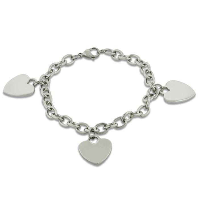 Ladies' Dangling Triple Heart Charm Bracelet in Stainless Steel, 8 Inch by SuperJeweler