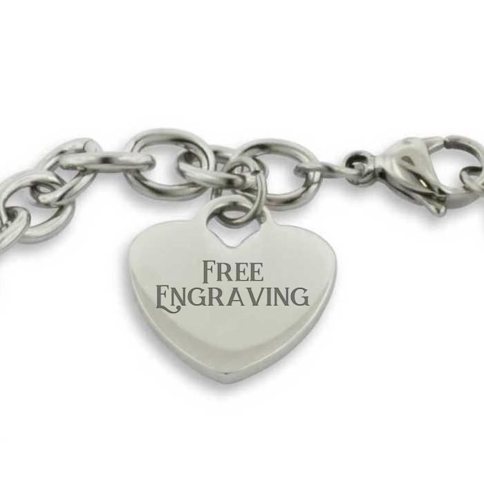 Ladies Dangling Single Heart Charm Bracelet in Stainless Steel w/ Free Custom Engraving, 8 Inch by SuperJeweler