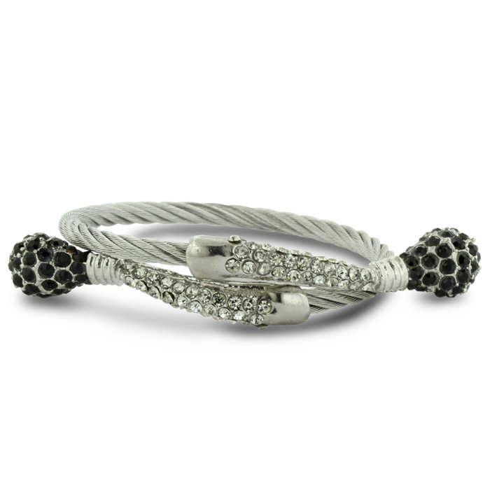 Image of Twisted Women's Black and White Rhinestone Stainless Steel Cuff Bracelet