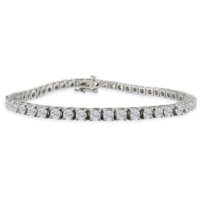 6ct Fine Diamond Tennis Bracelet, 14k White Gold