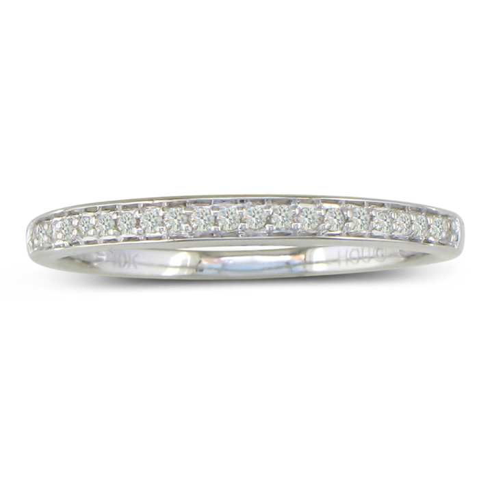 1/5 Carat Round Cut Pave Diamond Wedding Band in 14k White Gold, G/H Color by SuperJeweler