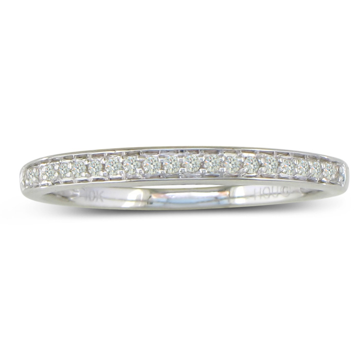 1/6 Carat Round Cut Pave Diamond Wedding Band in 14k White Gold (2.1 g),  by SuperJeweler