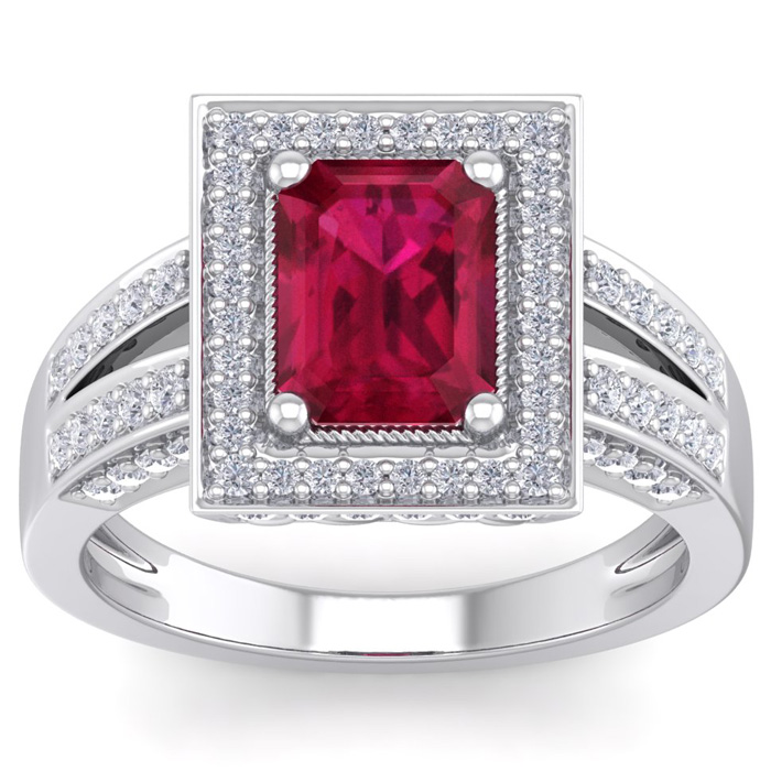 1.25 Carat Ruby & Diamond Ring in 14k White Gold (2.7 g), G/H Color by SuperJeweler
