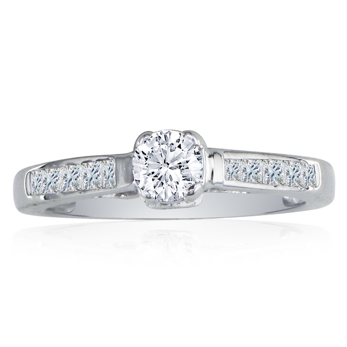 Elegant 1 Carat Round Cut Diamond Engagement Ring in 14k White Gold, G/H Color by SuperJeweler